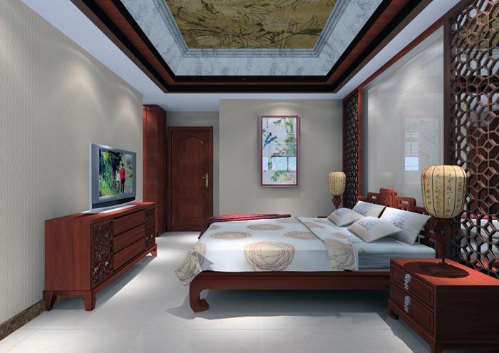 欧式房间装修白色地砖红木